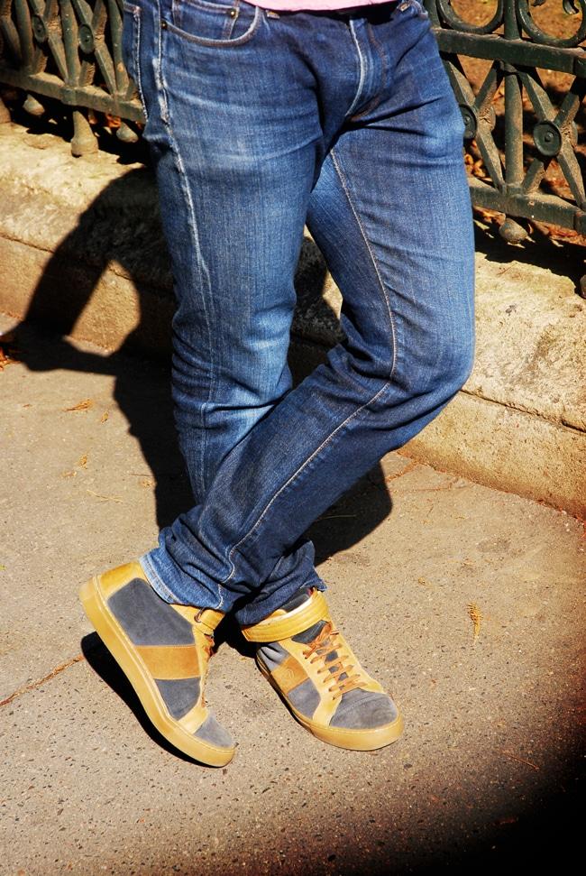 jean délavé sneakers
