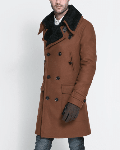 Manteau col fourrure Zara