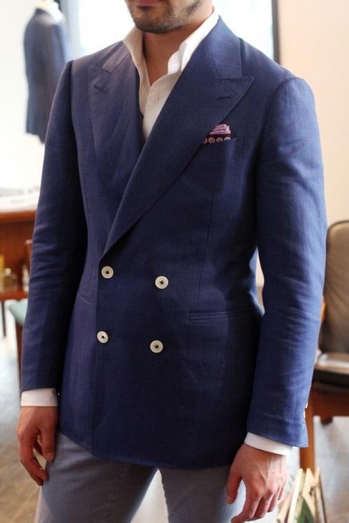 pochette rose croisée bleu