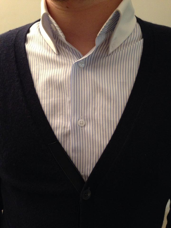 chemise et cardigan bleu