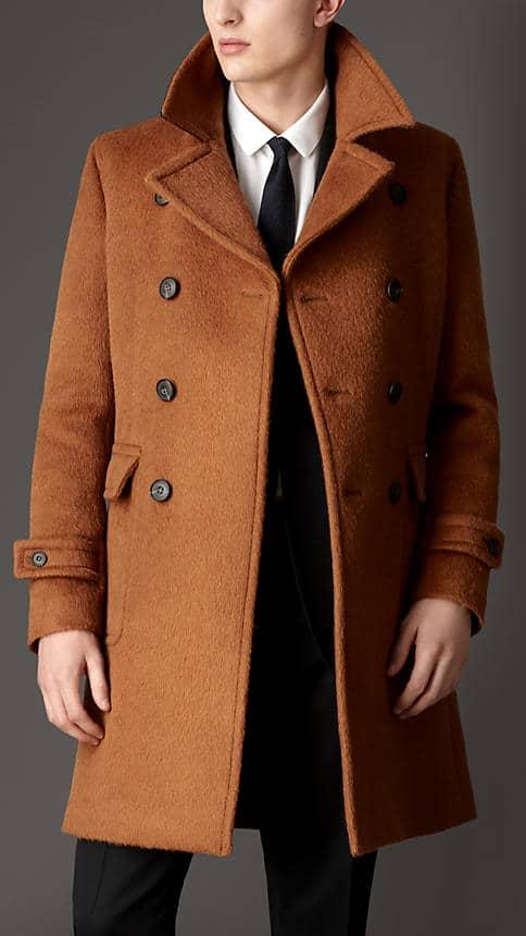 manteau croisé orange pour homme