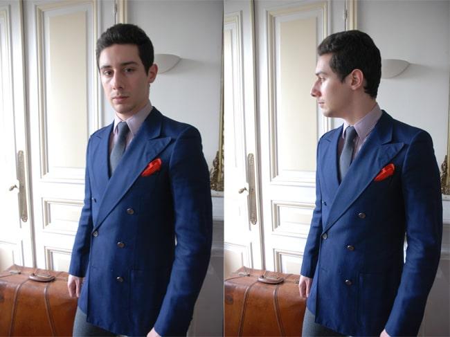 costume croisé bleu marine