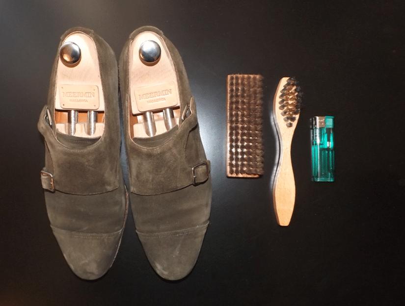 Entretien chaussures en veau velours