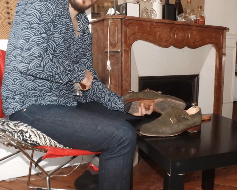 entretien souliers veau velours