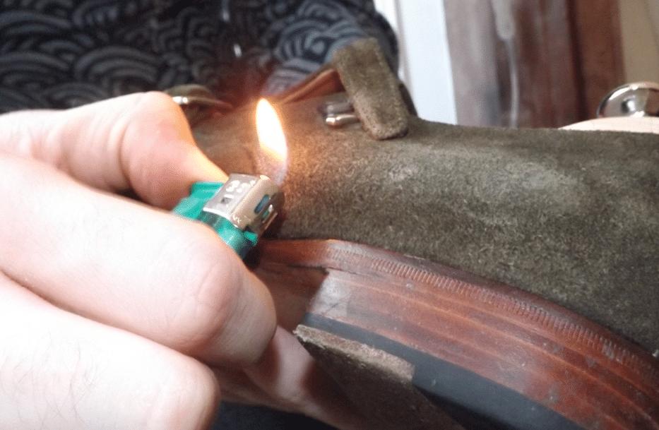 briquet feu velours suédé chaussure