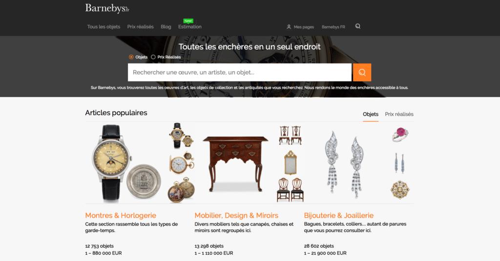 Barnebys, site d'enchère d'art en ligne