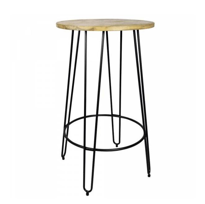 chaise haute en métal et bois